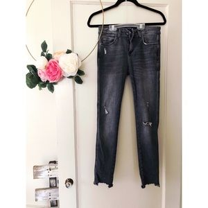 Zara Distressed Cropped Skinny Jeans